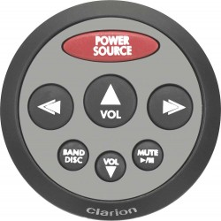 Clarion CMRC2-SB Watertight Silver Face with Black Rubber Bezel Marine Remote Control